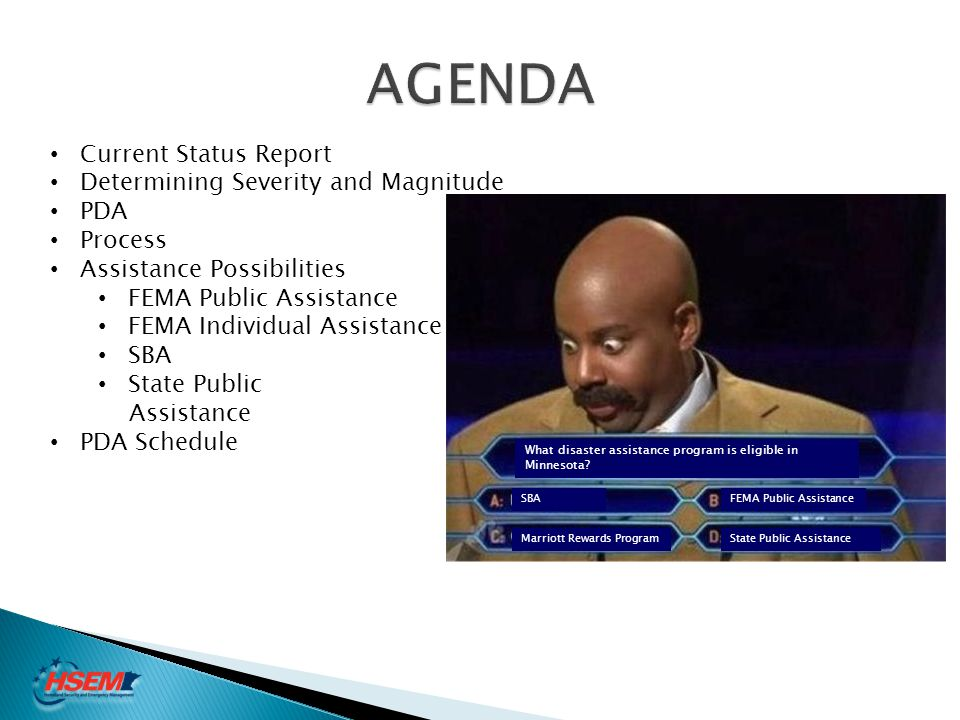 AGENDA Current Status Report Determining Severity and Magnitude PDA
