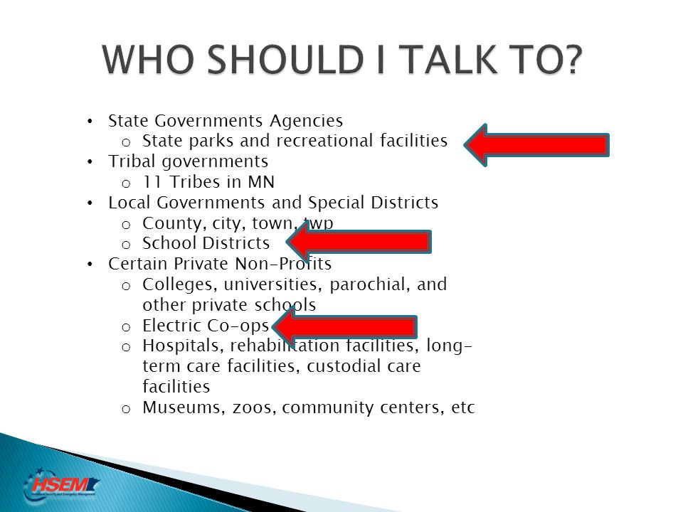 WHO SHOULD I TALK TO State Governments Agencies