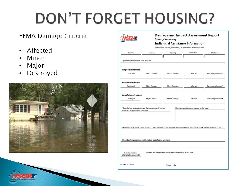 DON'T FORGET HOUSING FEMA Damage Criteria: Affected Minor Major