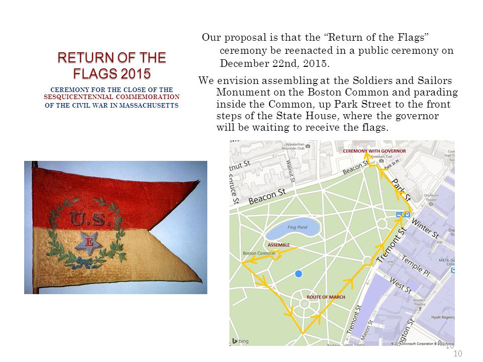 RETURN OF THE FLAGS 2015 Our proposal is that the Return of the Flags ceremony be reenacted in a public ceremony on December 22nd, 2015.