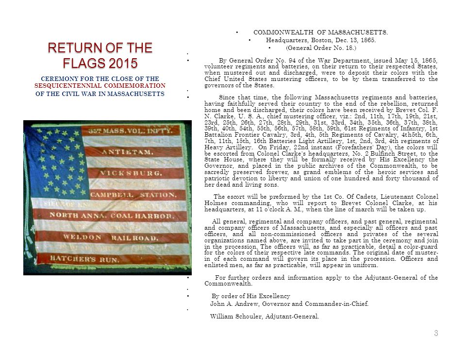 RETURN OF THE FLAGS 2015 COMMONWEALTH OF MASSACHUSETTS.