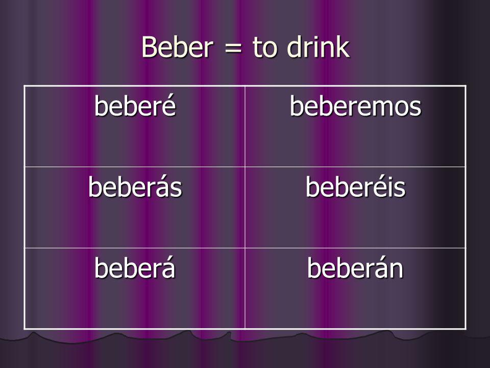 Beber = to drink beberé beberemos beberás beberéis beberá beberán