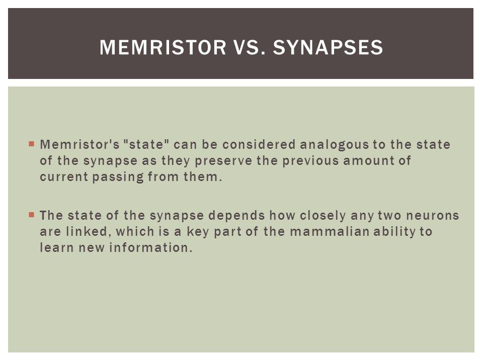 Memristor vs. Synapses