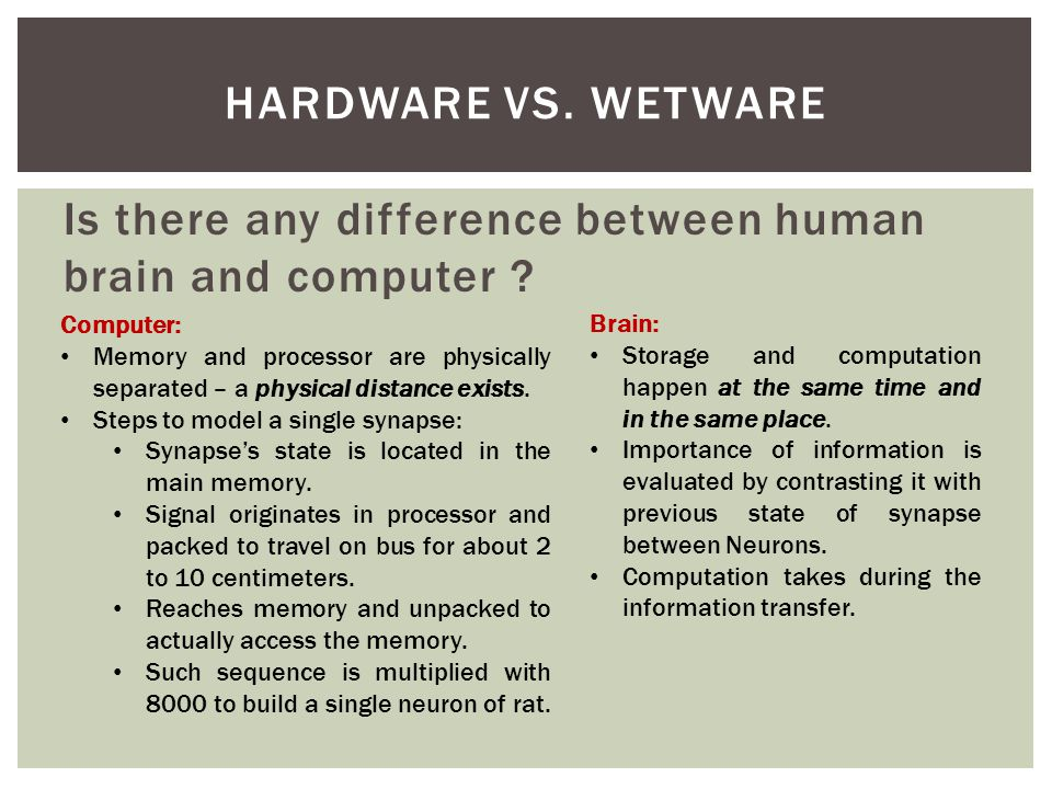 Is there any difference between human brain and computer