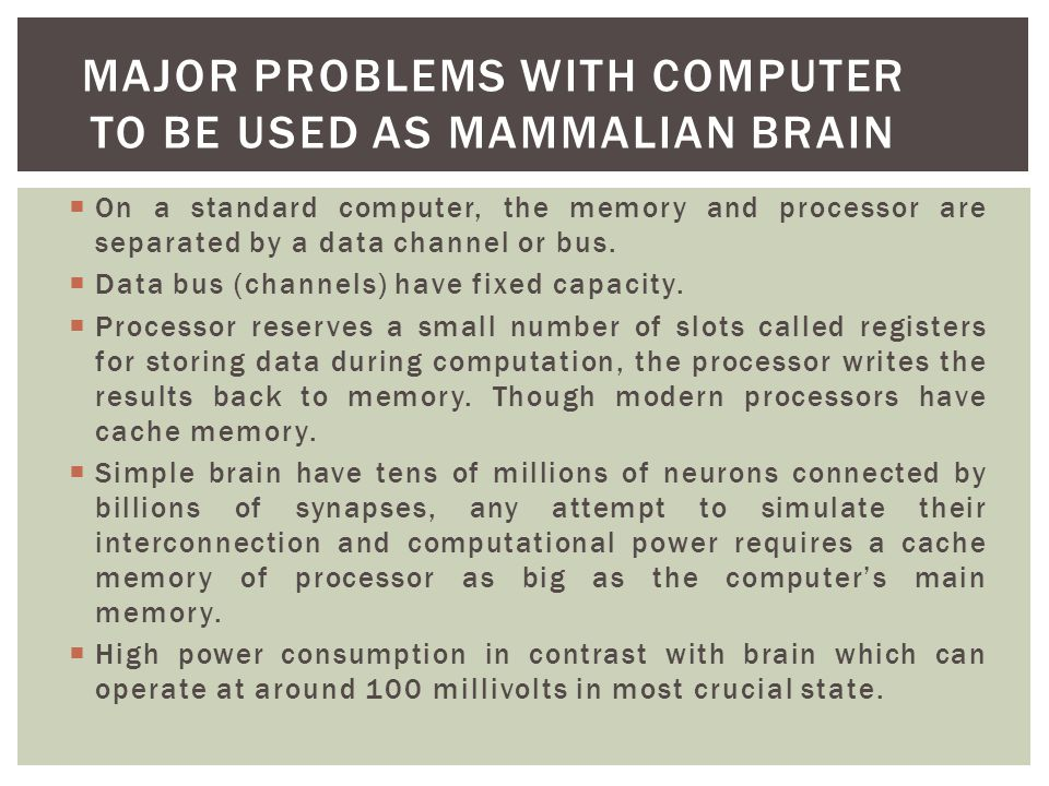 Major problems with computer to be used as mammalian brain