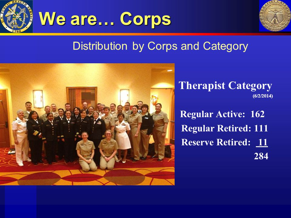 We are… Corps Distribution by Corps and Category Therapist Category
