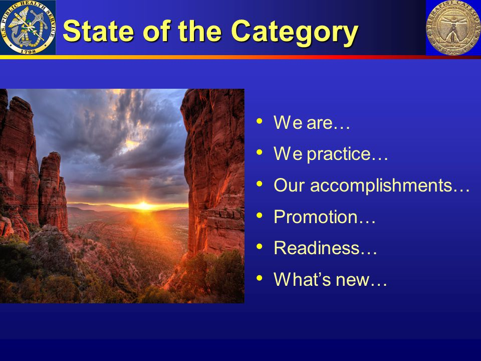 State of the Category We are… We practice… Our accomplishments…