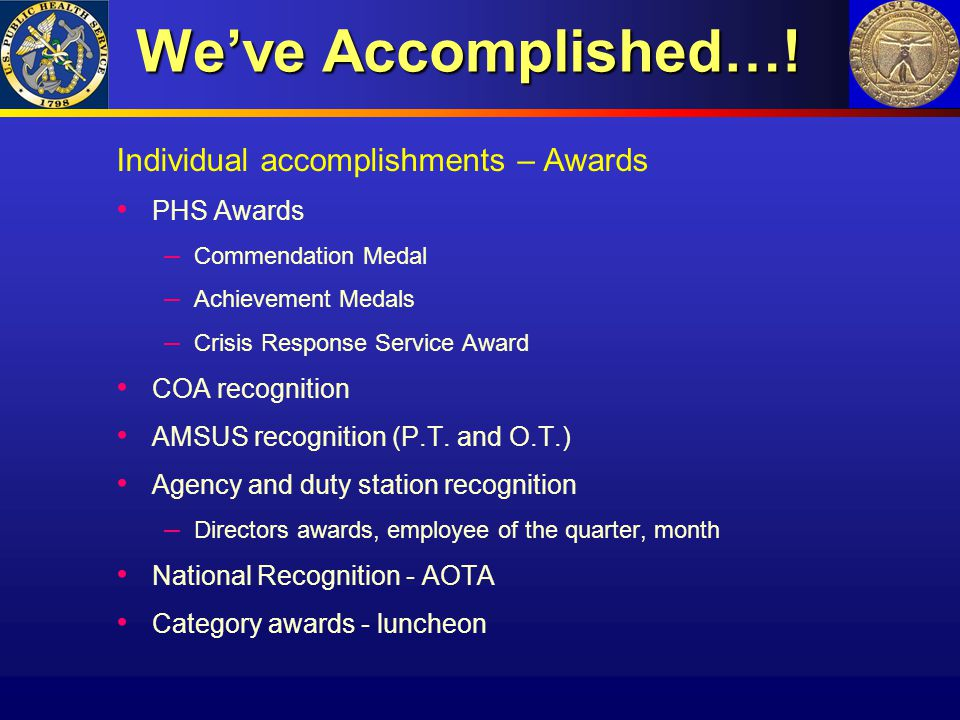We've Accomplished…! Individual accomplishments – Awards PHS Awards