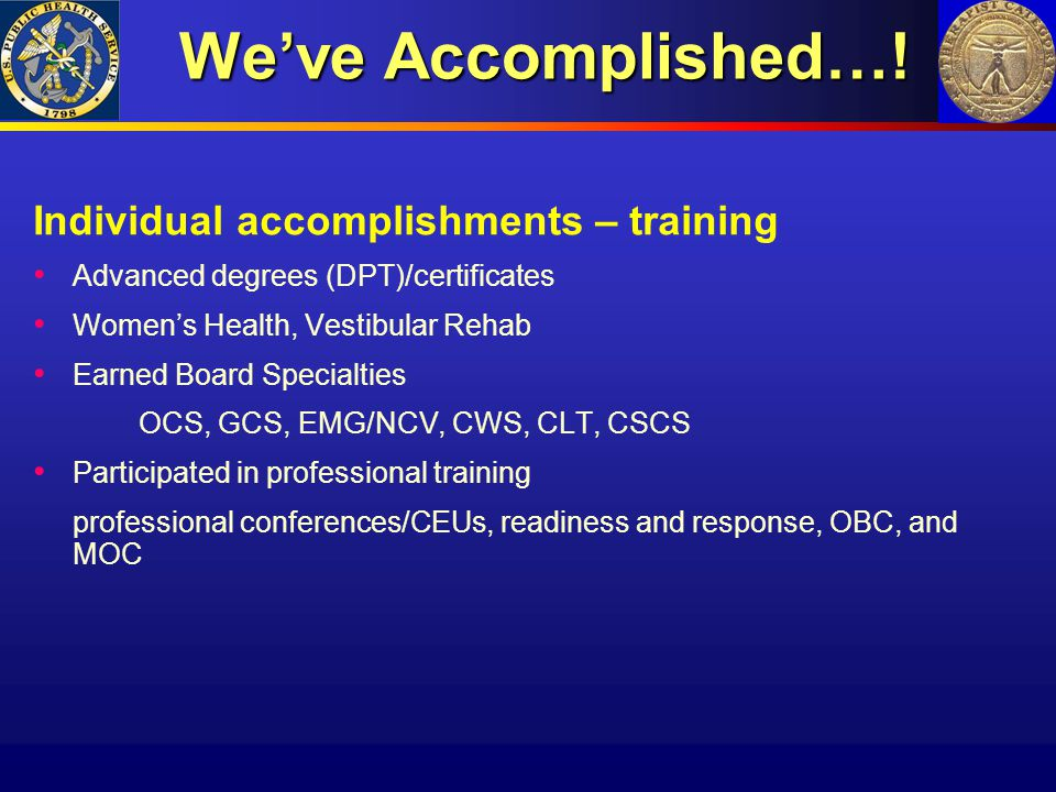We've Accomplished…! Individual accomplishments – training