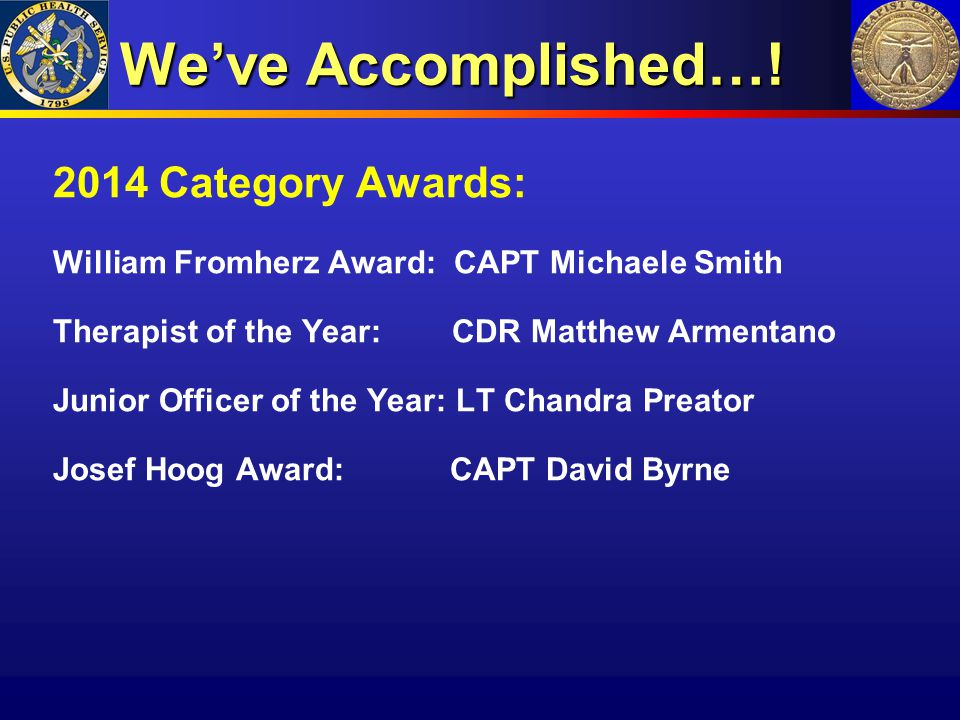 We've Accomplished…! 2014 Category Awards: