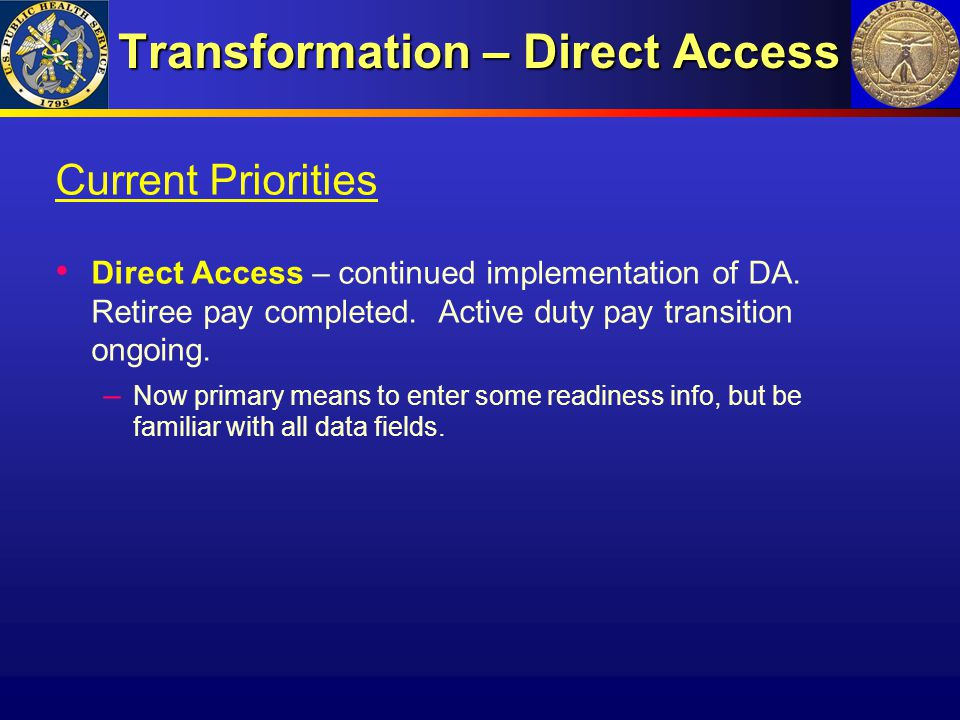 Transformation – Direct Access