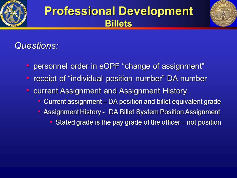 Professional Development Billets
