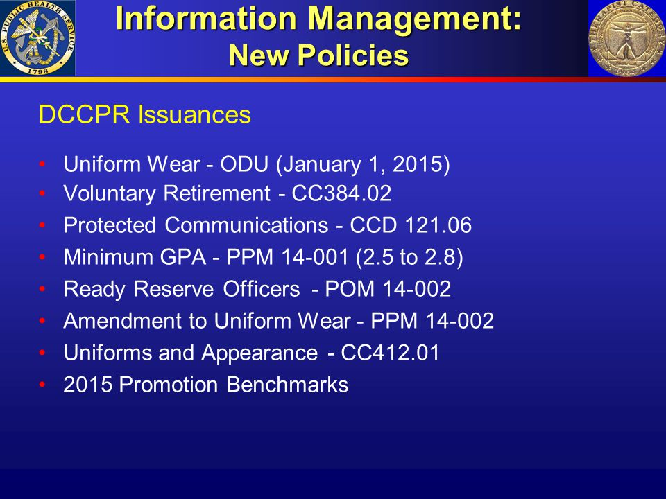 Information Management: New Policies