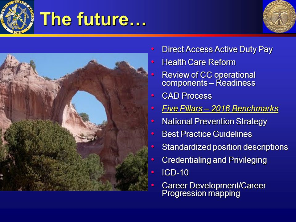 The future… Direct Access Active Duty Pay Health Care Reform