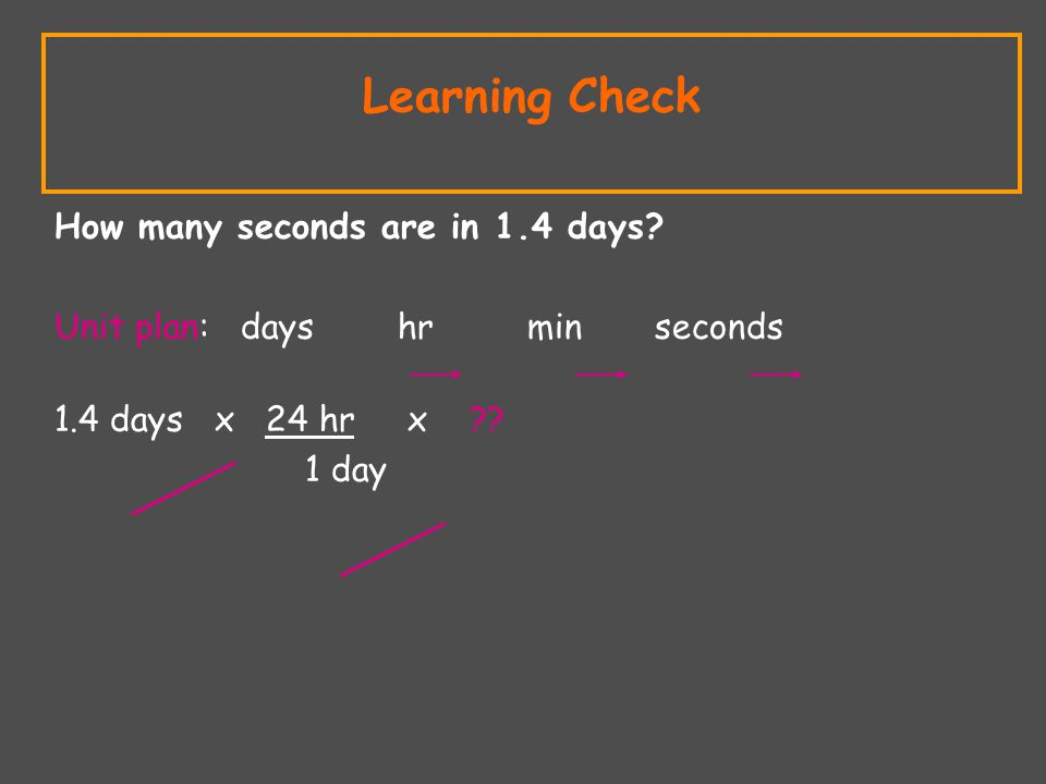 Learning Check How many seconds are in 1.4 days