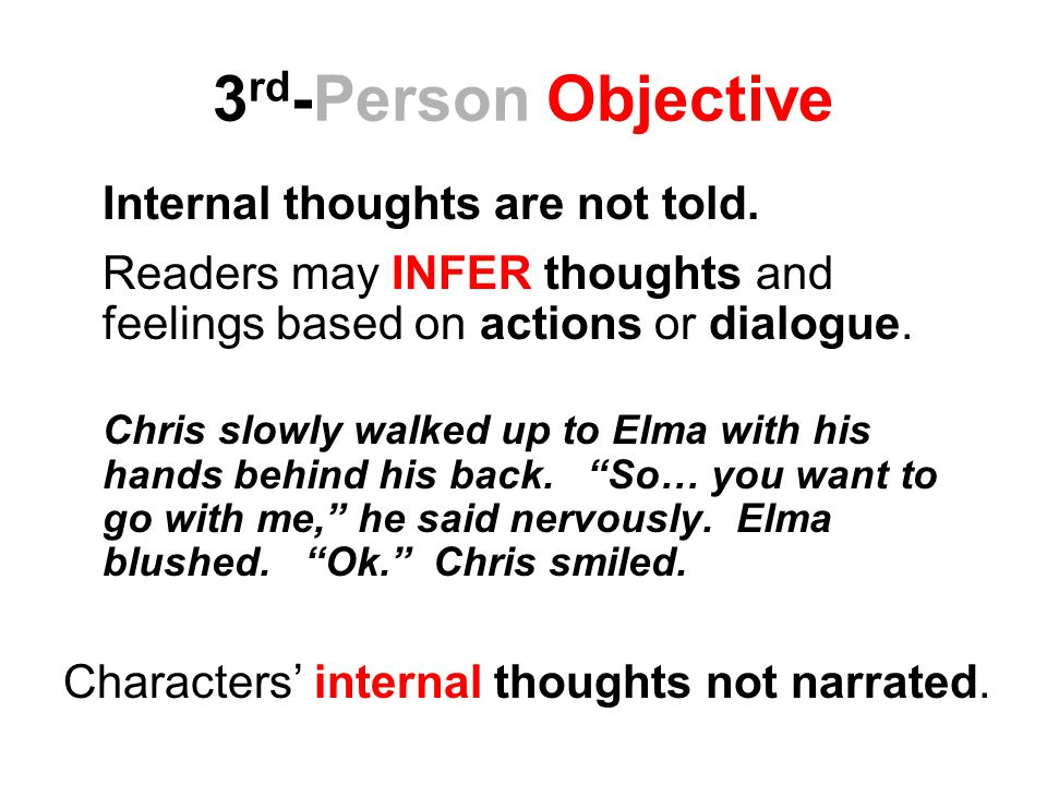 3rd-Person Objective Internal thoughts are not told.
