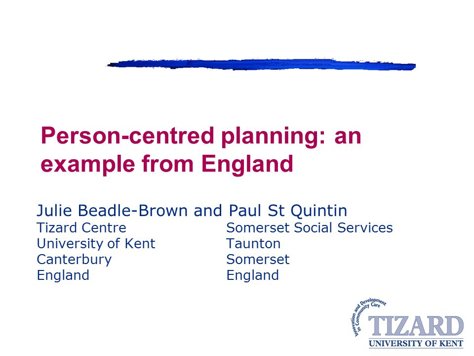 Person-centred planning: an example from England
