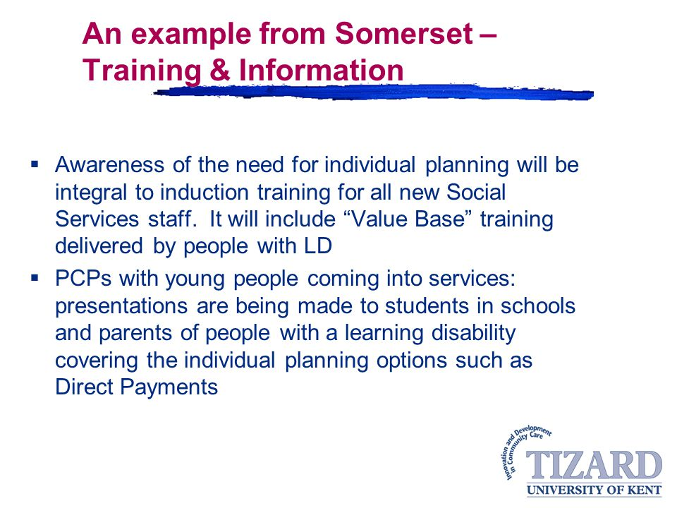 An example from Somerset – Training & Information