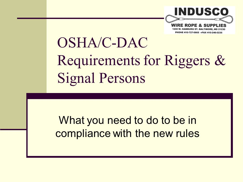 OSHA/C-DAC Requirements for Riggers & Signal Persons