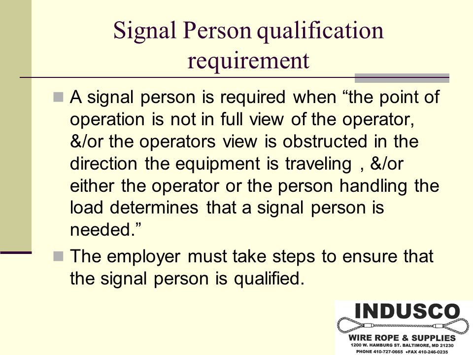 Signal Person qualification requirement
