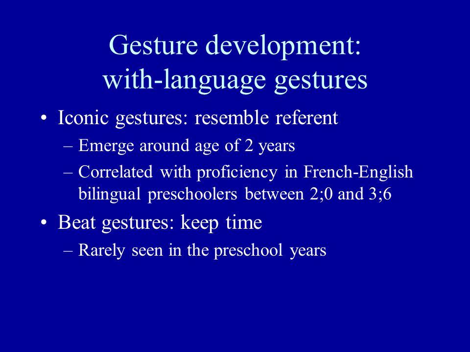 Gesture development: with-language gestures