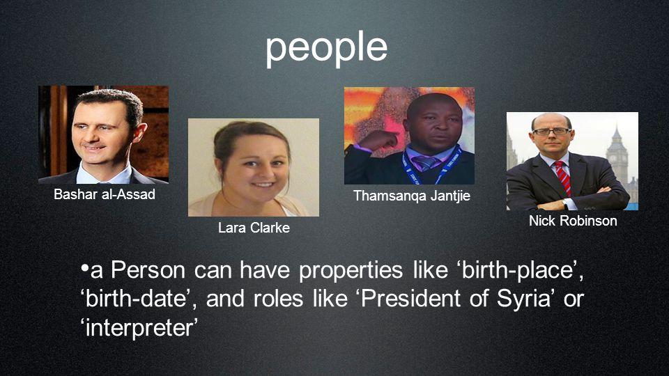 people Bashar al-Assad. Thamsanqa Jantjie. Nick Robinson. Lara Clarke.