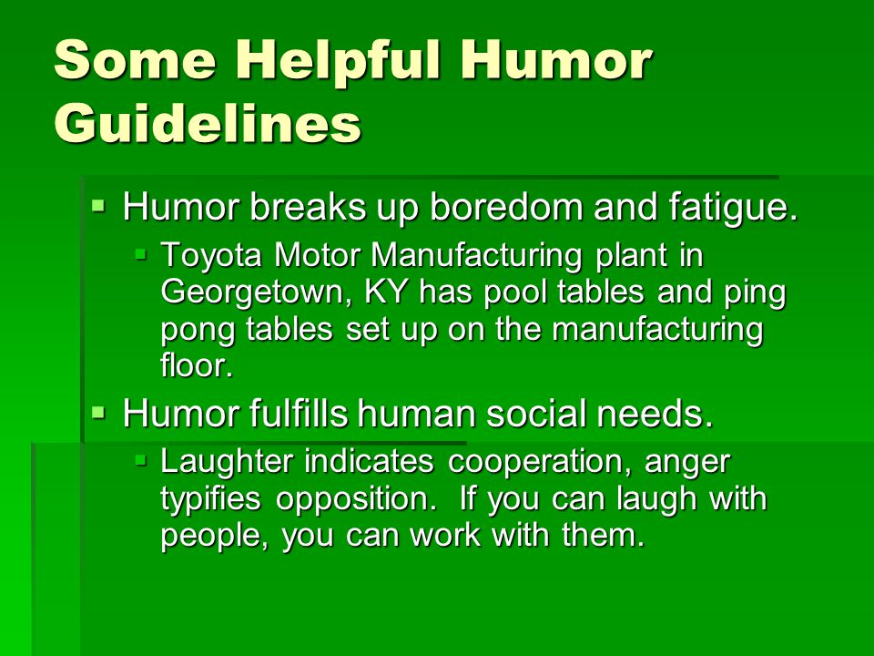 Some Helpful Humor Guidelines
