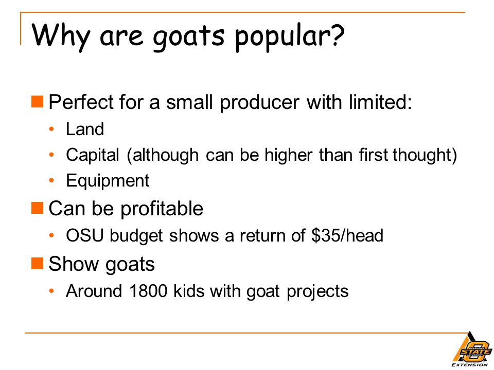 Why are goats popular Perfect for a small producer with limited: