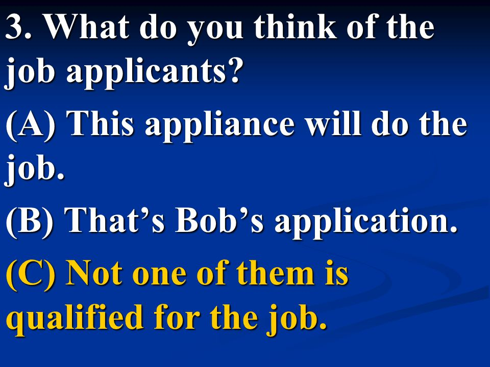 3. What do you think of the job applicants