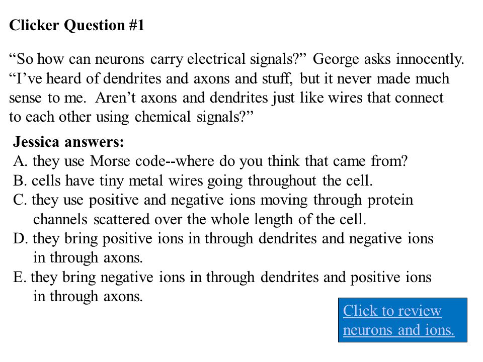 Clicker Question #1 So how can neurons carry electrical signals George asks innocently.