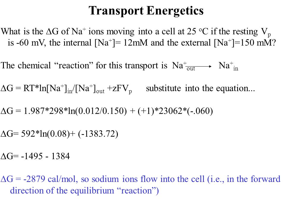 Transport Energetics What is the DG of Na+ ions moving into a cell at 25 oC if the resting Vp.