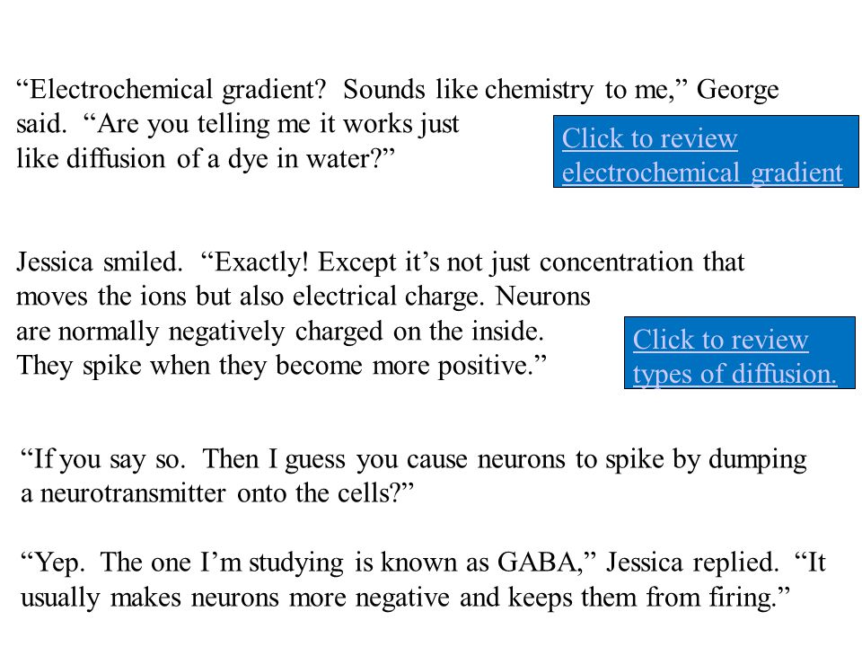 Electrochemical gradient Sounds like chemistry to me, George