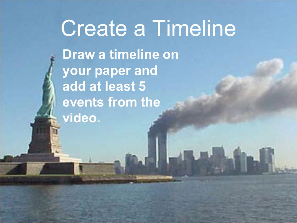 Create a Timeline Draw a timeline on your paper and add at least 5 events from the video.
