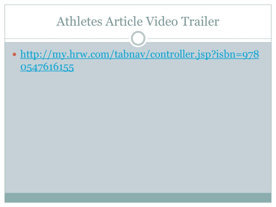 Athletes Article Video Trailer