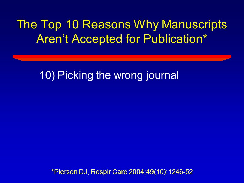 The Top 10 Reasons Why Manuscripts Aren't Accepted for Publication*
