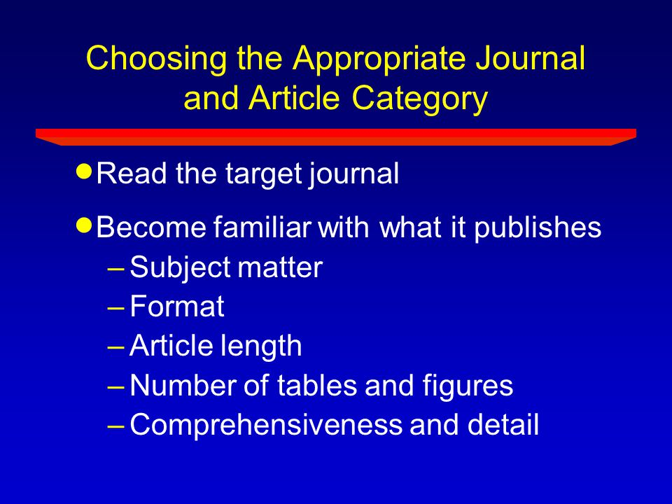 Choosing the Appropriate Journal and Article Category