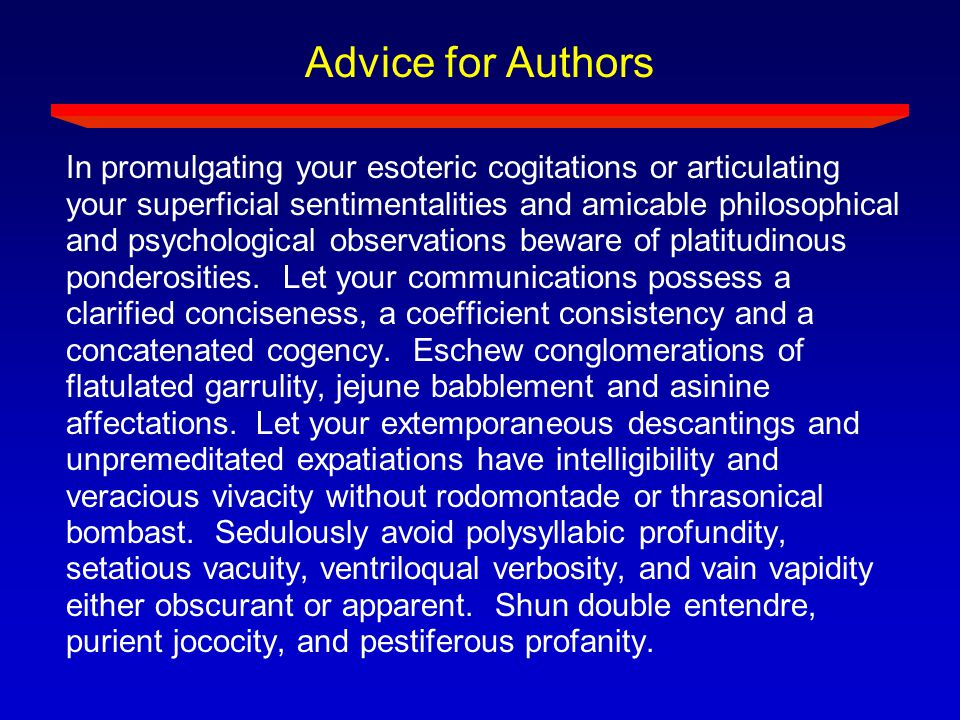 Advice for Authors
