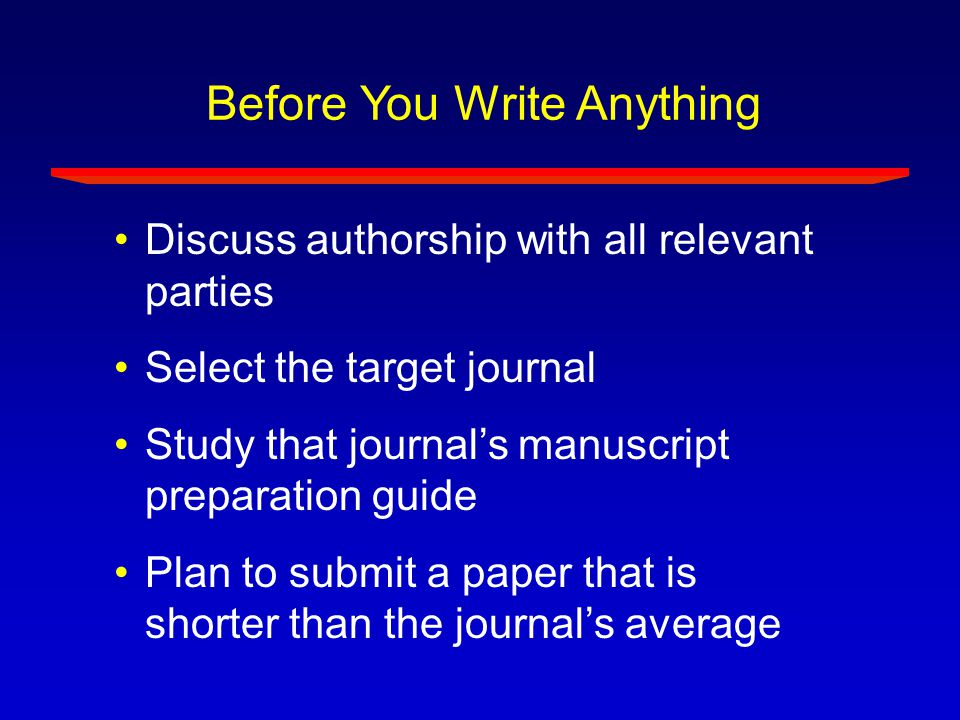 Before You Write Anything