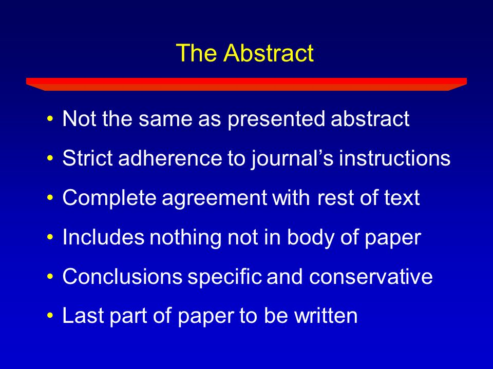 The Abstract Not the same as presented abstract