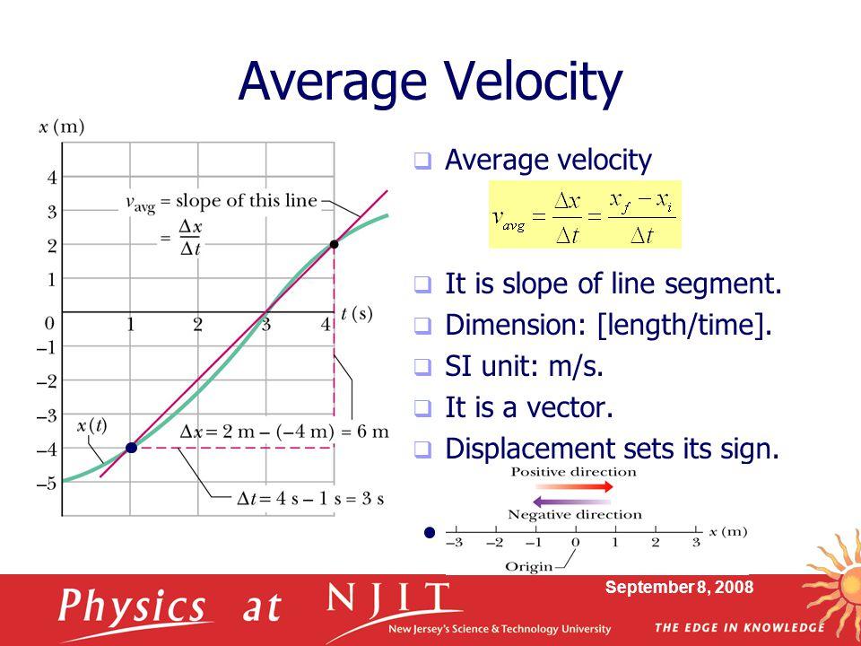 Average Velocity Average velocity It is slope of line segment.