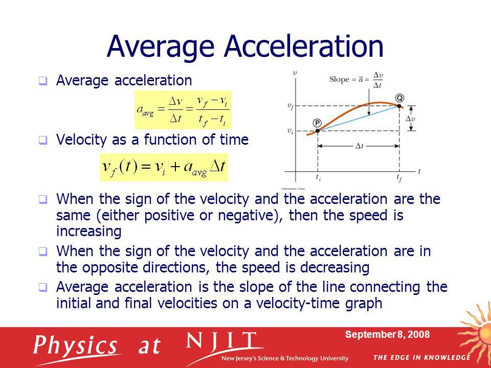 Average Acceleration Average acceleration
