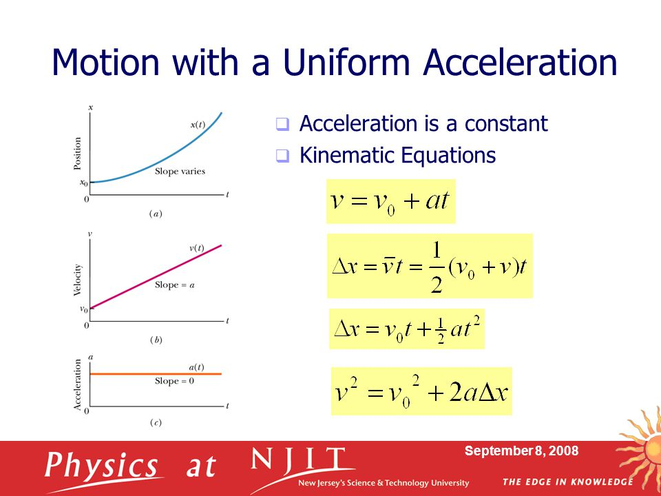Motion with a Uniform Acceleration