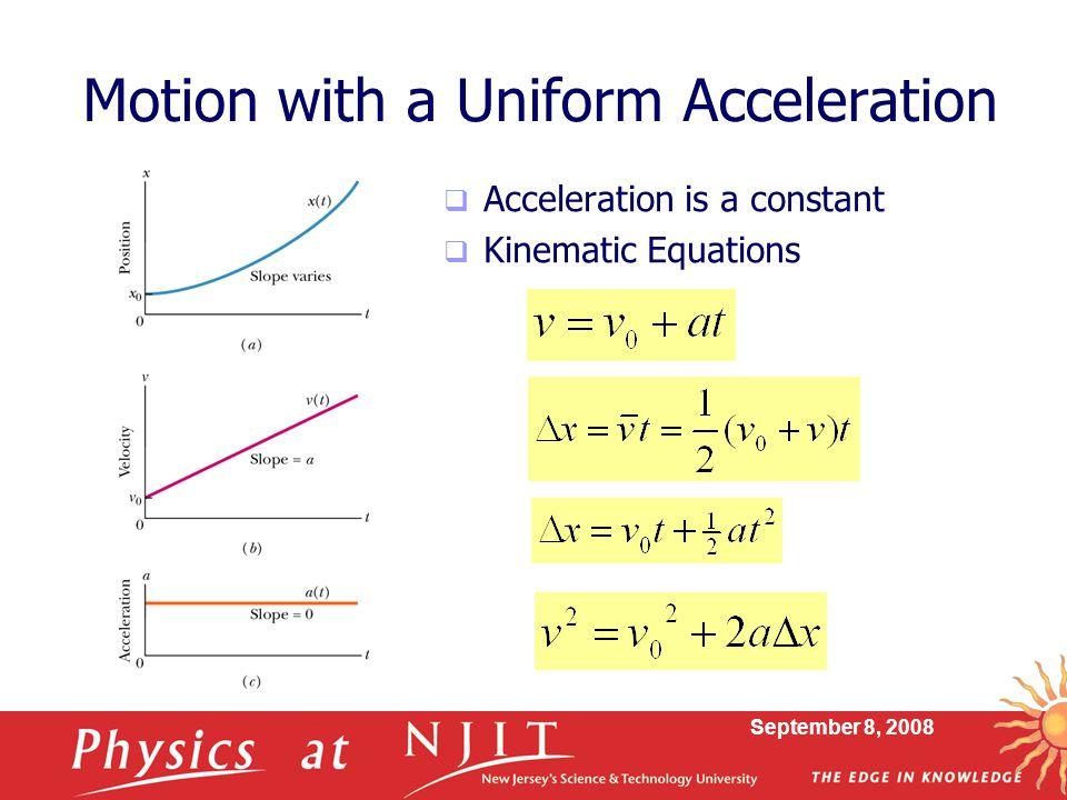 Motion with a Uniform Acceleration