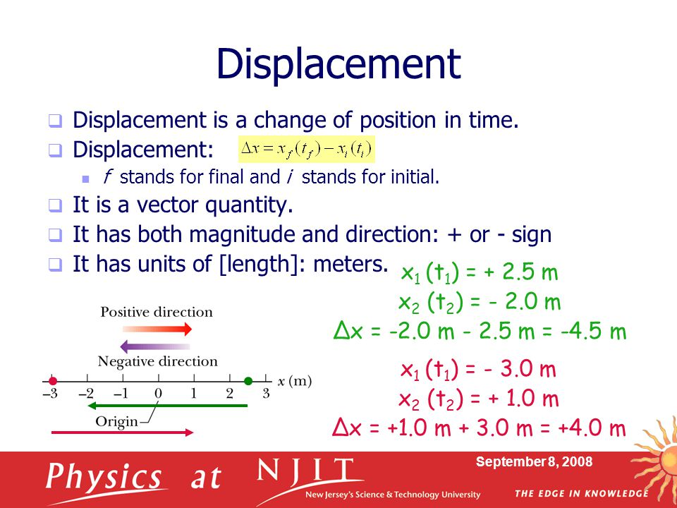 Displacement Displacement is a change of position in time.