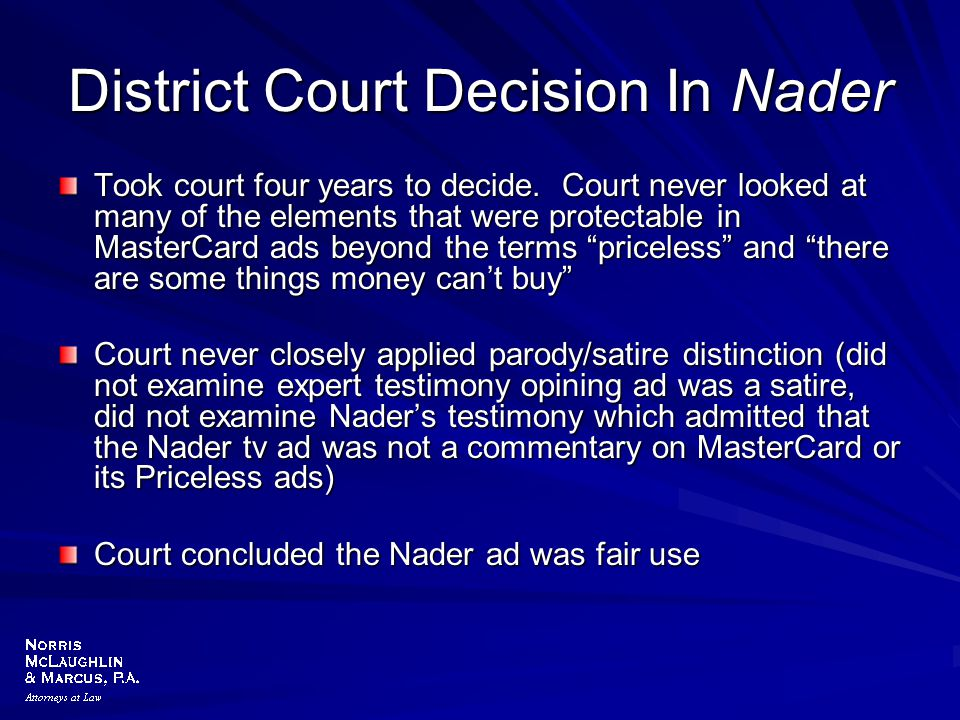 District Court Decision In Nader