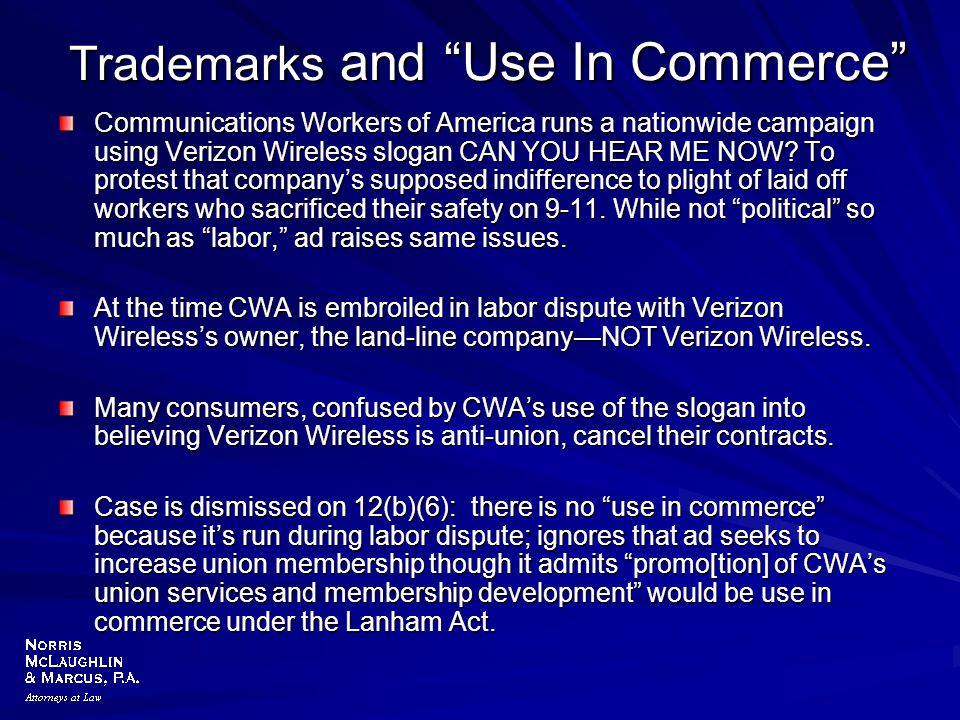 Trademarks and Use In Commerce