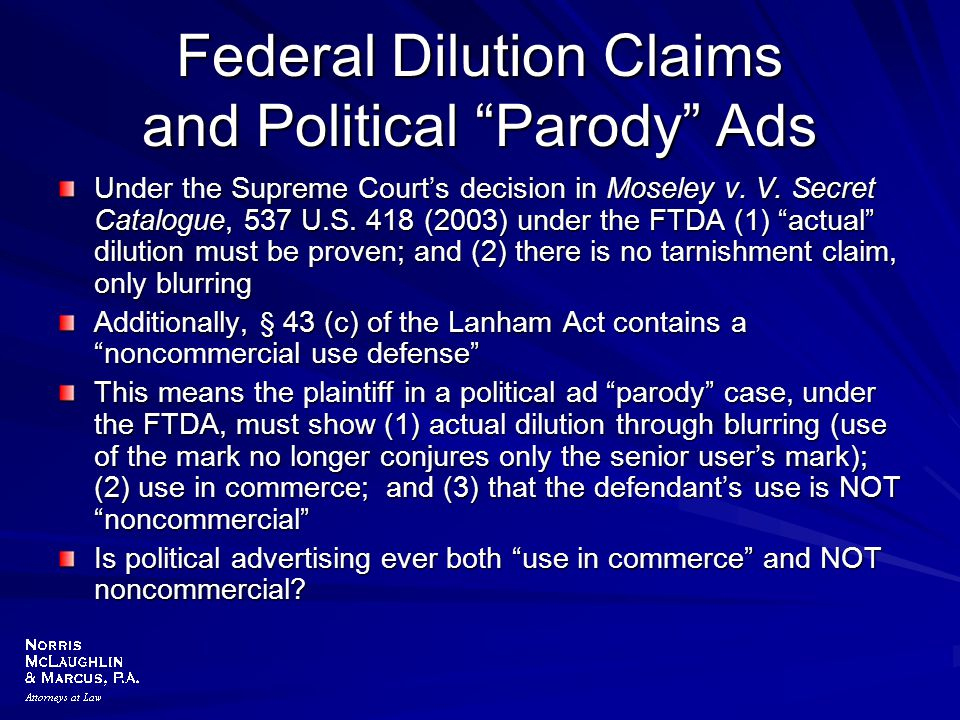 Federal Dilution Claims and Political Parody Ads