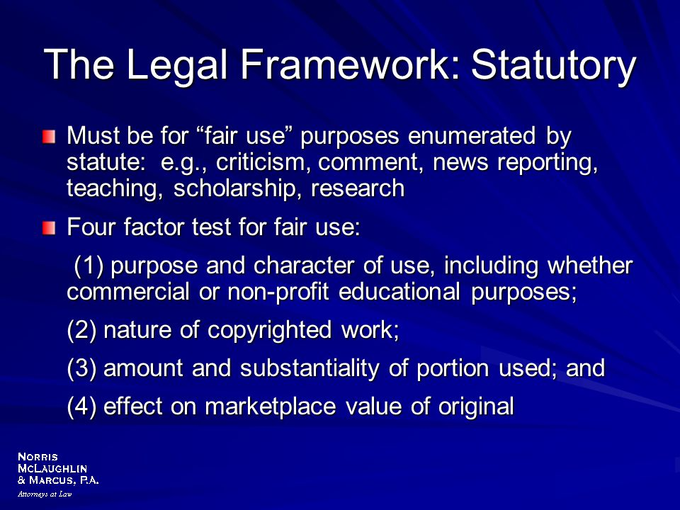 The Legal Framework: Statutory