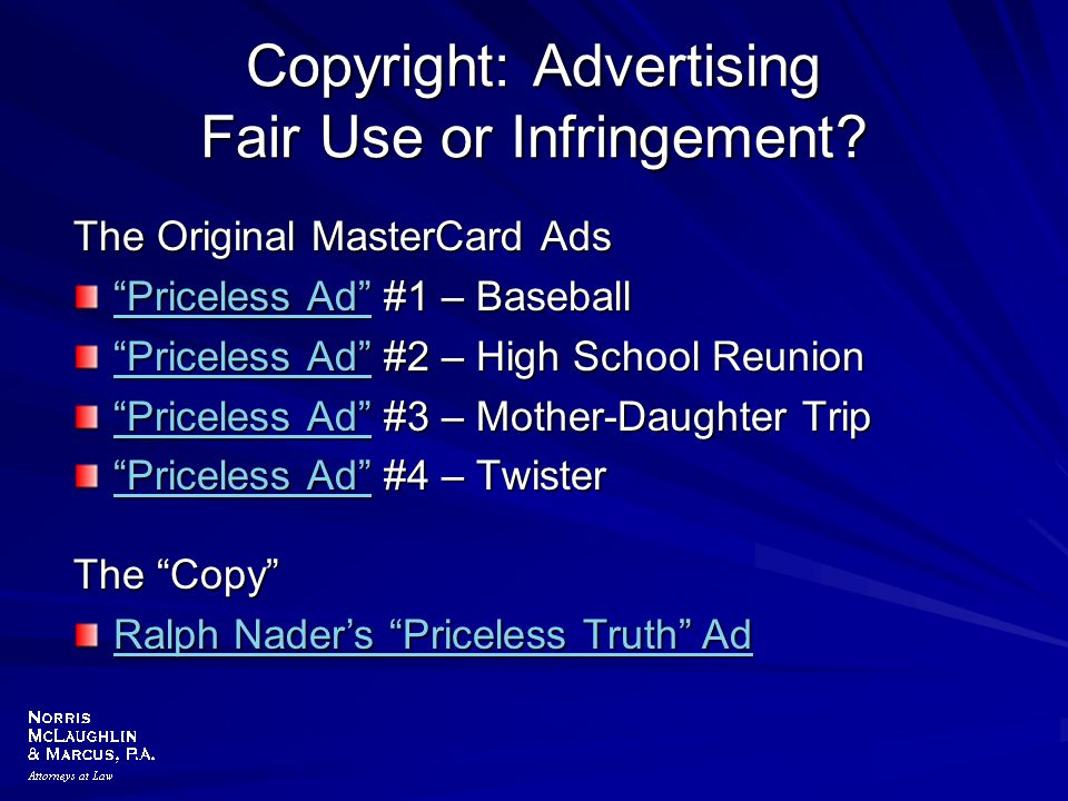 Copyright: Advertising Fair Use or Infringement