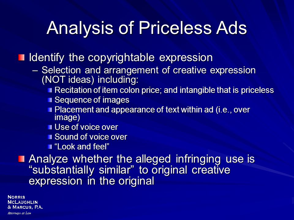 Analysis of Priceless Ads